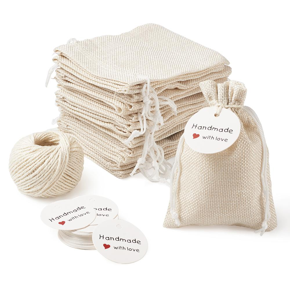 Mini Jute Drawstring Burlap Bags Pouches Packing Storage With Display Kraft Paper Price Tags Hemp Cord Twine String For Jewelry