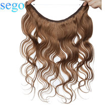 Hair-Extensions Halo Human-Hair SEGO Invisible Wire-Hairpieces No-Tape No-Clips 16--24-body-Wave