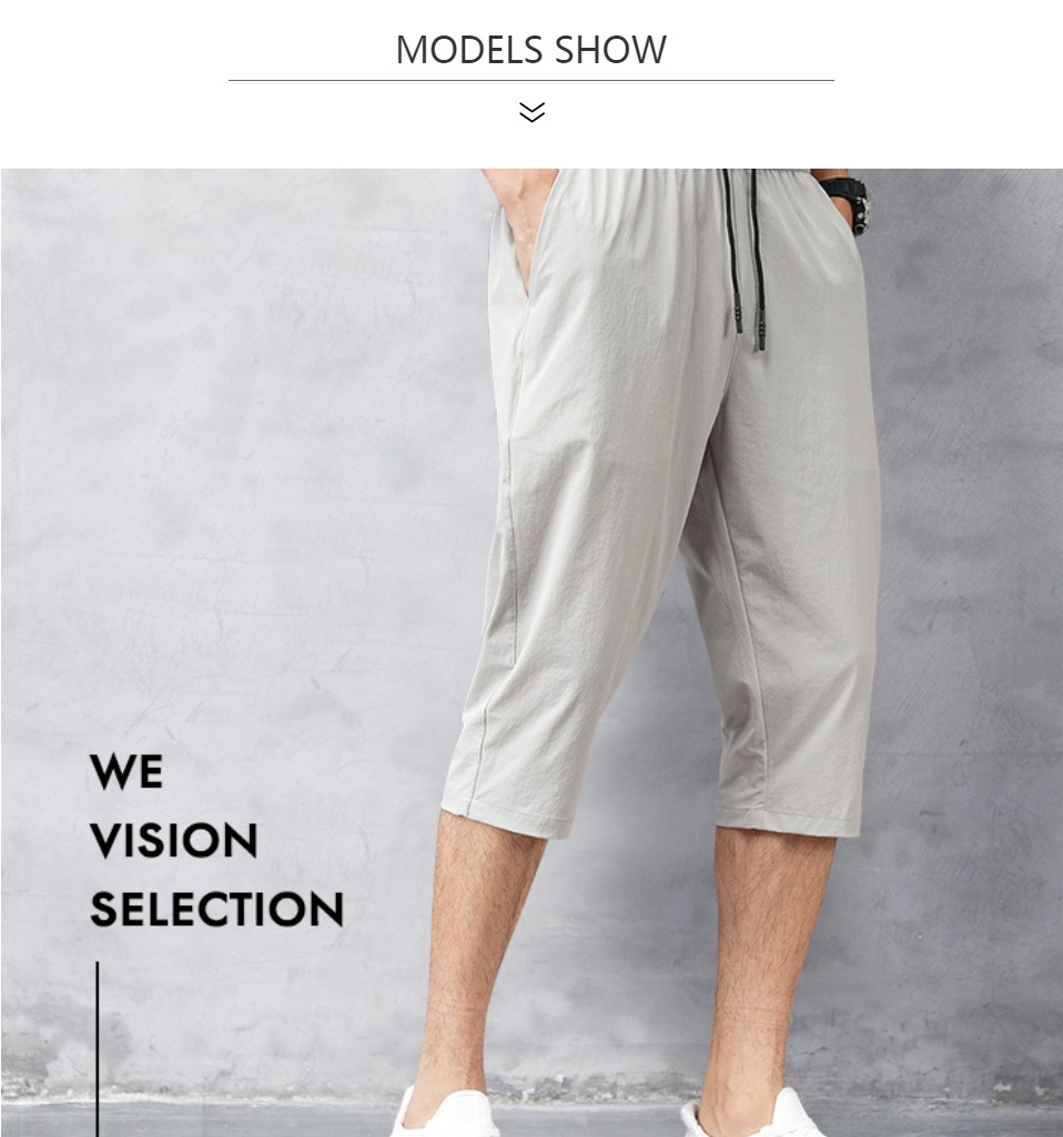 Men's Summer Plain Cotton And Cropped Trousers