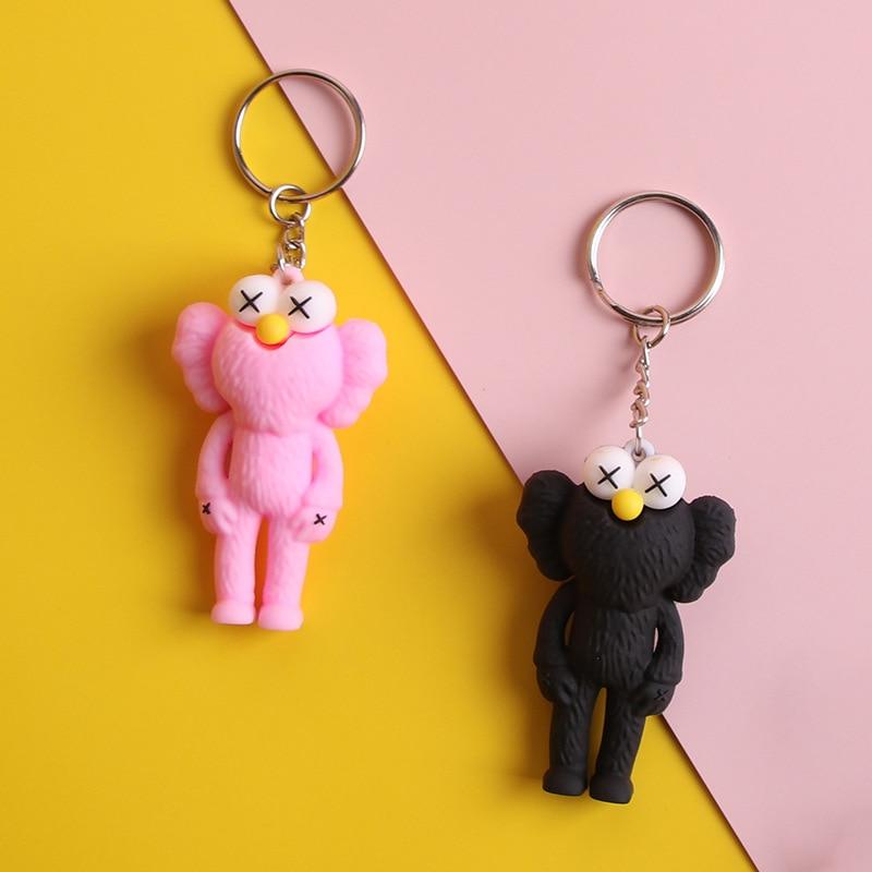 Creative Korean Women's Schoolbag Car Hanging Adorable Dolls PVC Key Fastener Hanging Kaws Key Chain Sesame Street