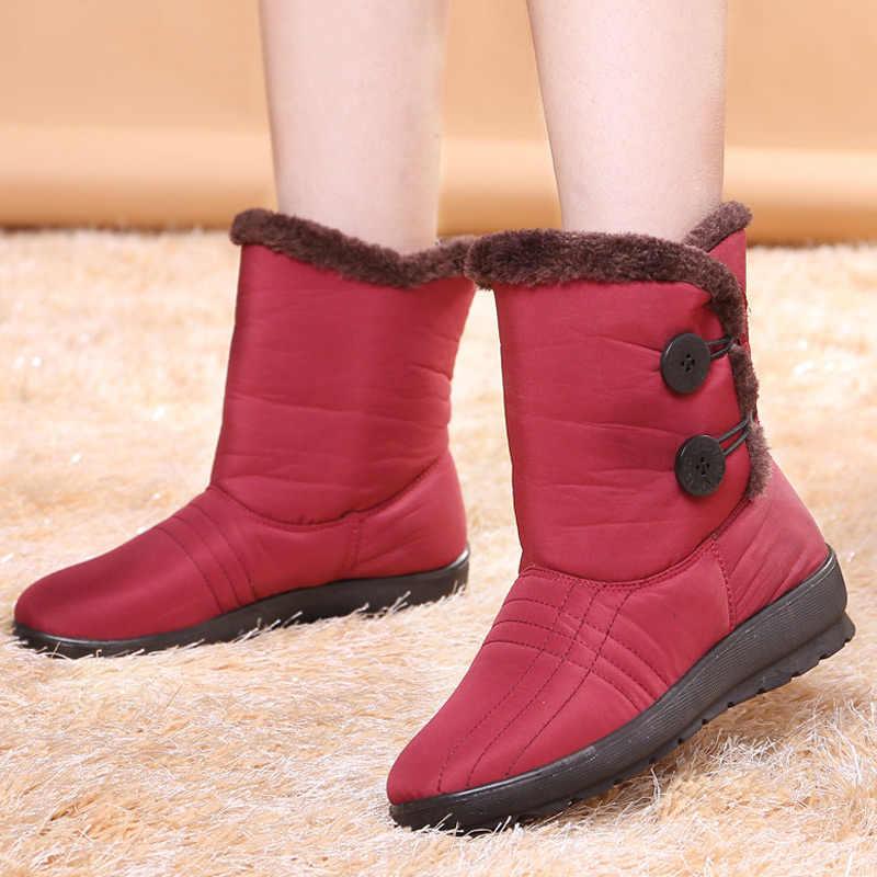 Nicht-Slip Schnee Stiefel 2019 Neue Frauen Stiefel Plüsch Warme Stiefeletten Für Frauen Winter Stiefel Wasserdicht Mutter Schuhe frauen Booties