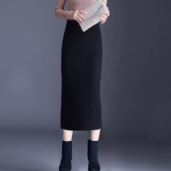 2020 New Woman Skirts Black Long Knitted Pencil Skirt Office Slim High Waist Causal Fashion Sweater Autumn and Winter Skirts Q49 image