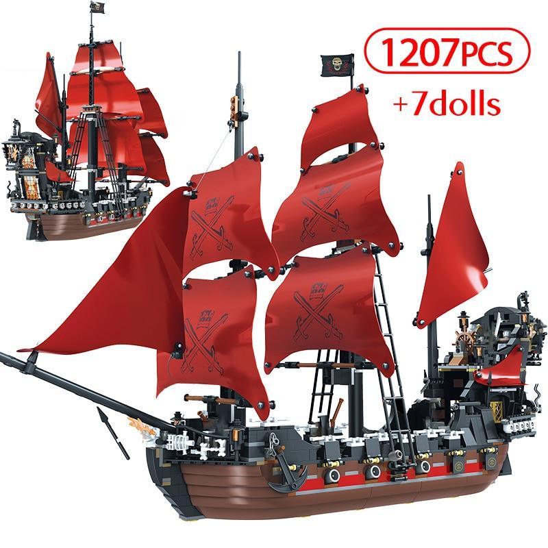 1270PCS Caribbean Pirate Sailing Ship Building Blocks For Legoingly Queen Anne Revenge Boat 3D Model DIY Bricks Toys For Kids