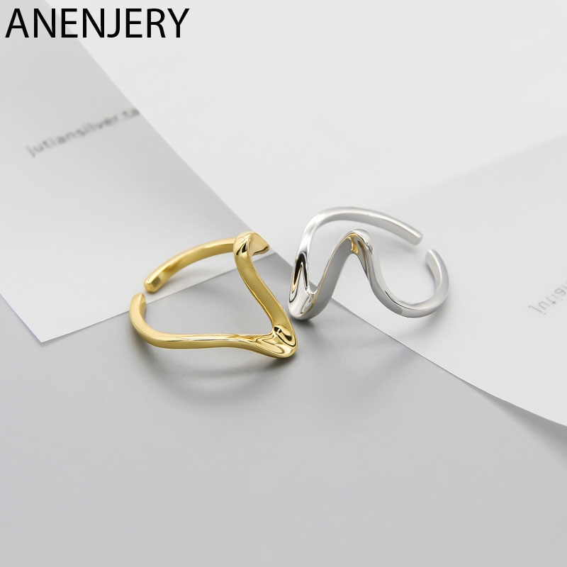 ANENJERY New Fashion Irregular Geometric Smooth Gold Silver Ring 925 Sterling Silver Open Finger Ring For Women Jewelry S-R683