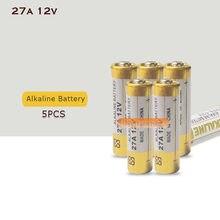5 pces 27a 12 v bateria alcalina seca 27ae 27mn a27 para campainha, alarme de carro, walkman, controle remoto do carro etc