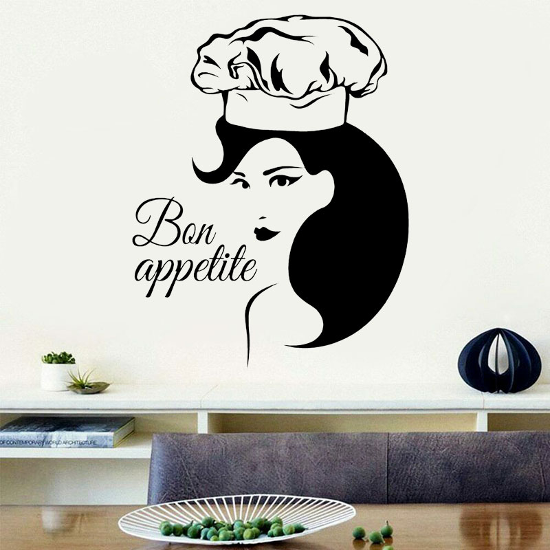 Bon Appetit Quote Wall Sticker Vinyl Home Decor Kitchen Cafe Restaurant Beauty Woman Window Decals Removable Mural 4131