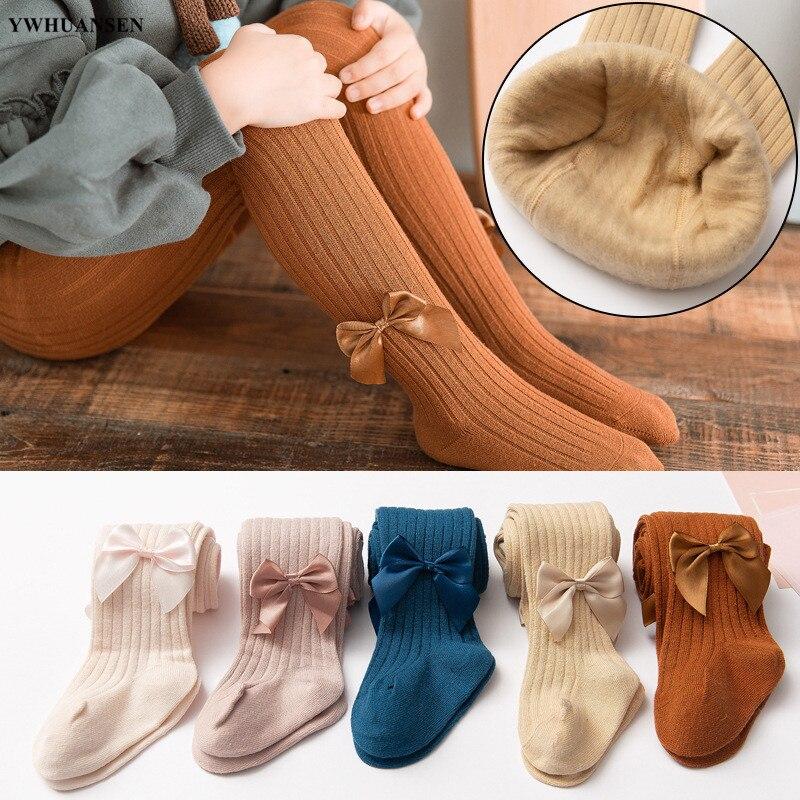 YWHUANSEN 0-11 Yrs Girls Autumn Winter Warm Tights Plus Velvet Inside Bowknot Knitted Tight For Children Vlevet Lining Pantyhose