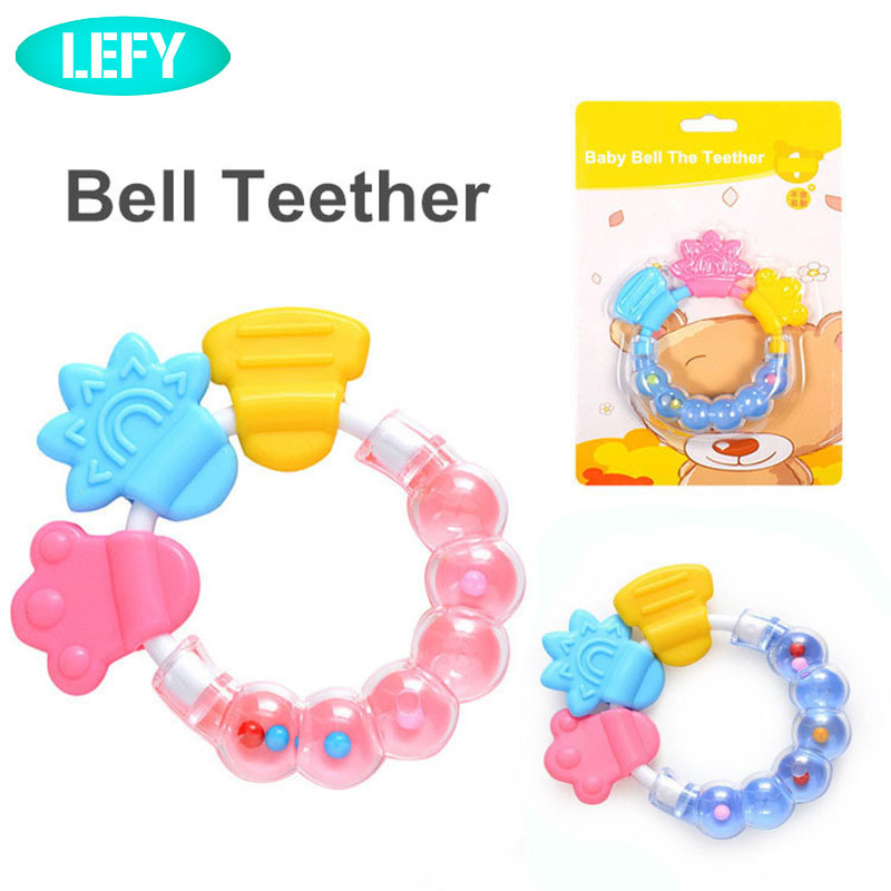 1pc Bell Teether Baby Hand Rattles Toys Baby Shaker Toys Newborn Baby Cartoon Teething Toy Infant Silicone/plastic Teeth Gum