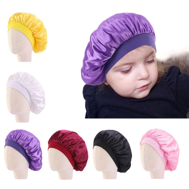 Kids African Print Satin Bonnet Night Sleep Cap Turban Hat Beanie Chemo Cap