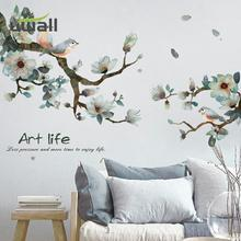 Hand Painted Ink Flower Stickers Warm Home Decor Living Room Tv Background Wall Decor Bedroom Decor Self-Adhesive Wall Sticker