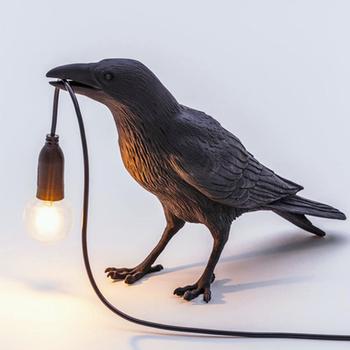 Szczęście ptak lampa stołowa led lampa dekoracja do salonu lampy do sypialni oświetlenie wewnętrzne lampki nocne światła wystrój domu ścienne oprawy oświetleniowe tanie i dobre opinie YANKE CN (pochodzenie) Home Desktop Wall Black Decorative lights iron Ue wtyczka 100V-240V Pokrętło przełącznika Żarówki led