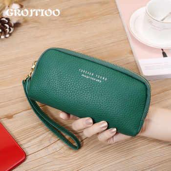GROJITOO Hot Sale Genuine Leather Wallet 2020 Korean Style Women\'s Handbag Multi-Card Long Clutch Handy Card Holder