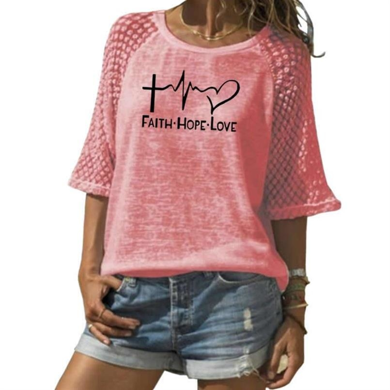 Faith Hope Love Letters Printed T-Shirt For Women Lace Crew Neck T-Shirt Top T-Shirt 21