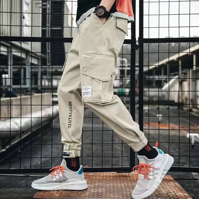 Hip Hop Men Streetwear Military Pants Patchwork Pocket Side Striped Joggers Sweatpants Cuffed Ankle Length Trousers For Male 40