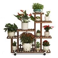 화분에 심은 식물 발코니 거실 고기 꽃 랙 다층 지상 화분 선반 Windowsill 단단한 나무|식물선반|가구 -