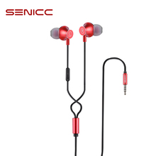 SENICC K2 3.5mm In ear Earphones Music Earbuds Fashion Earphone with 4 Pole Jack with Microphone for Phone Pad MP3 MP4 Player