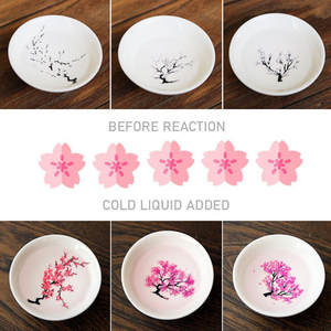 Ceramic Coffee Bowl Cup Sake-Cup Flower Changing Printing Cold-Color Japanese One-Piece