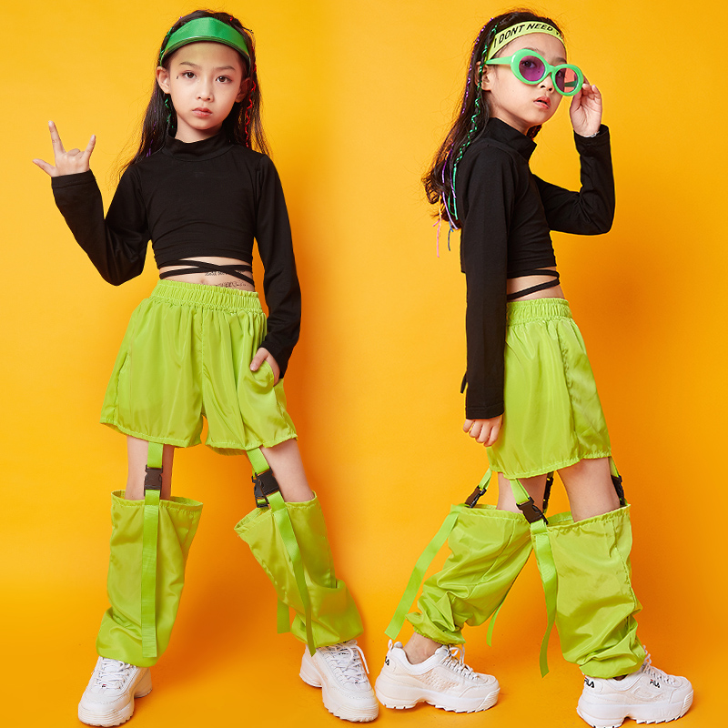 Fashion Hip Hop Costumes For Girls Street Dance Performance Clothing Practice Clothes Kids Jazz Rave Outfit Stage Wear DC2944