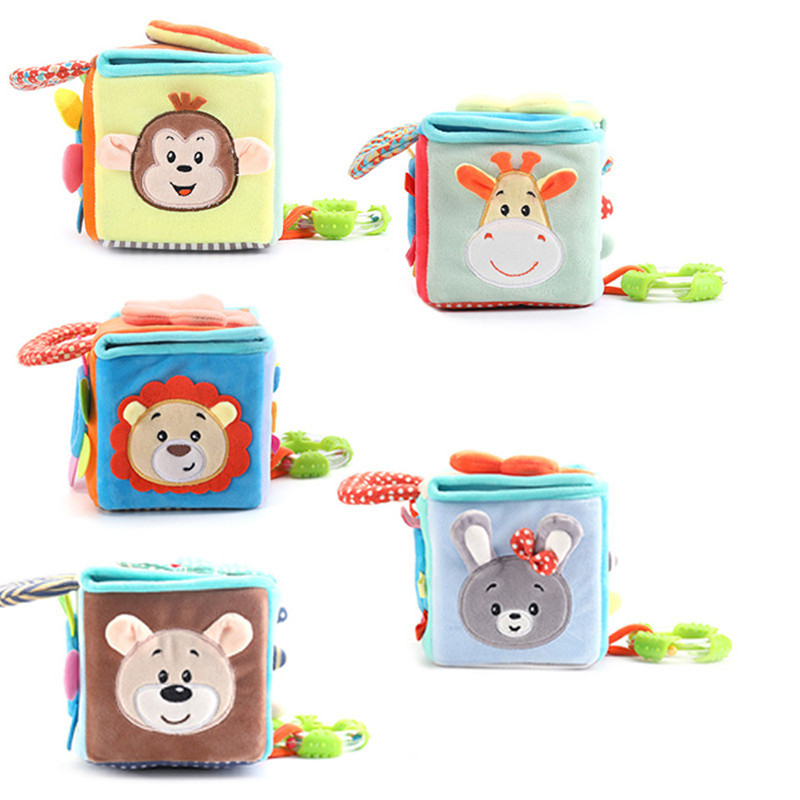 Animal Cloth Building Blocks New Infant Baby Cloth Doll Soft Rattle Early Educational Baby Toy Soft Plush Set Cube