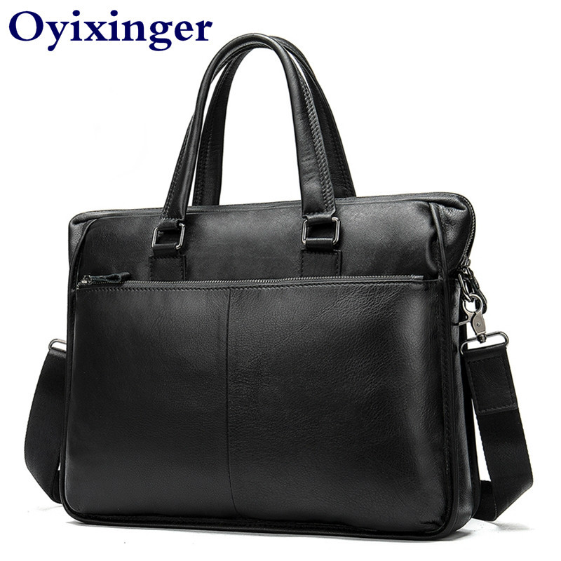 Briefcase Men's Genuine Leather Office Briefcases Bags For Men 14.1 Laptop Messenger Mens Bag Man Leather Male Lawyer Sac Homme
