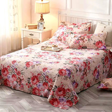 2020 New flower cotton bed sheet 1 pcs and pillowcase 2 pcs for adults pink red