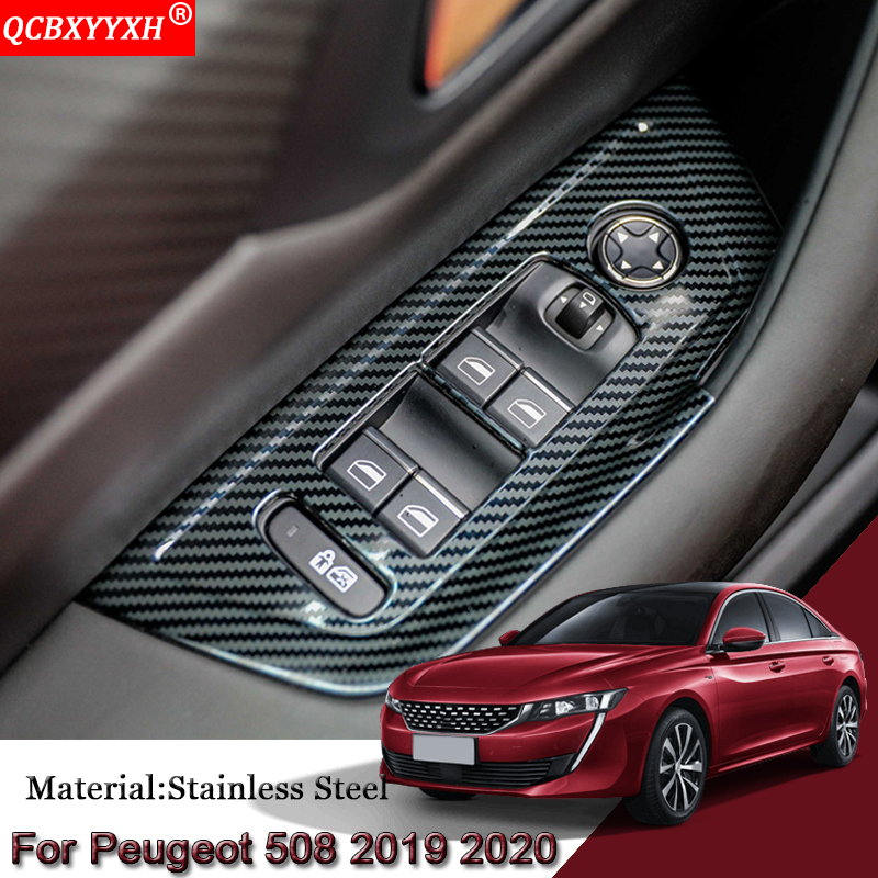 Car Styling Car Interior Door Window Lift Switch Panel Cover Trim Sequins Auto Sticker Car Accessories For Peugeot 508 2019 2020|Interior Mouldings| |  - title=