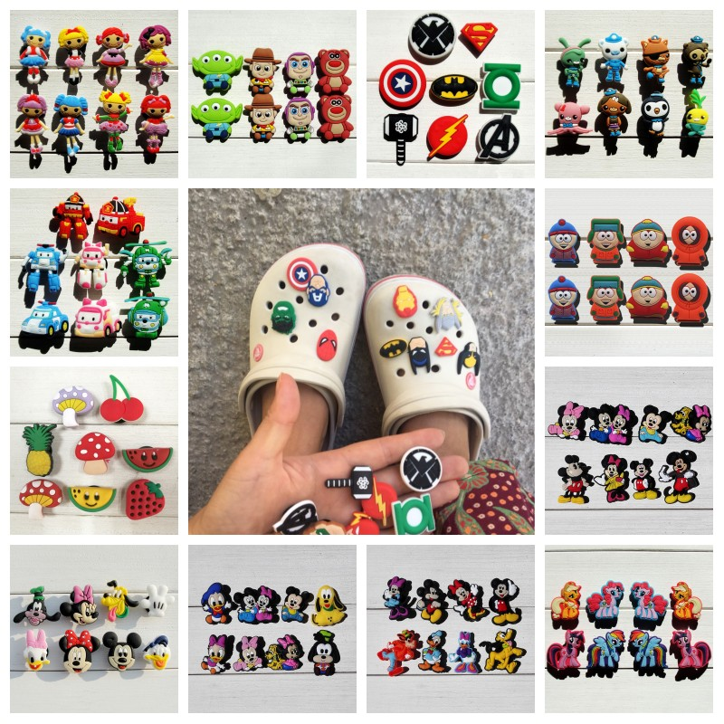 6-22pcs/lot Avengers Small Flower Lalaloospy Dolls Mickey PVC Shoe Charms Shoe Buckles Accessories Fit Bands Bracelets Croc JIBZ