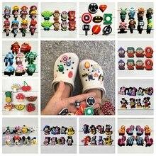 6-24pcs/lot Avengers Mickey PVC Shoe Charms Shoe Buckles Accessories Christmas Decoration Fit Bands