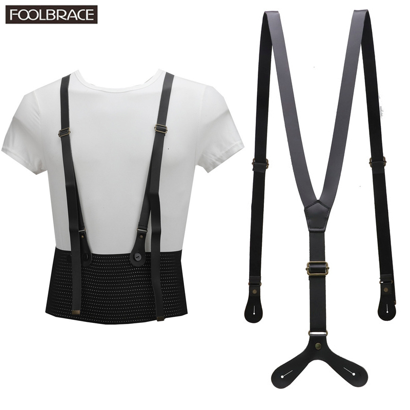 Vintage British Retro Real Leather Tri-clamp Strap Leather Suspenders Women Decorated Korean Narrow Braces Men Section 2cm
