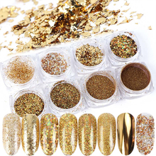 8 Box Mirror Gold Nail Art Glitter Powder Dust Holographic Gold foil Flakes Circle Sequin Manicure Nail Art Decoration JI1506 07