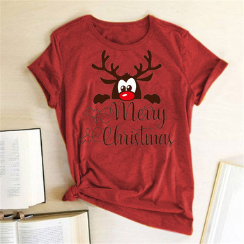 Funny Deer Head Printed Christmas T Shirt Women Short Sleeve Crewneck Harajuku Graphic Tees Shirts Holiday Gift Tops - sale item Tops & Tees