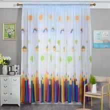 Tulle Curtains Pencil-Printed Voile Bedrooms-Decoration Sheer Living-Rooms Colorful Cartoon