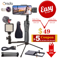 Orsda 3 Axis Gimbal Stabilizer Handheld w/Focus Pull & Zoom For iPhone XS XR X 8Plus 8 7P 7 Samsung S9 S8 S7 Action Camera Gopro