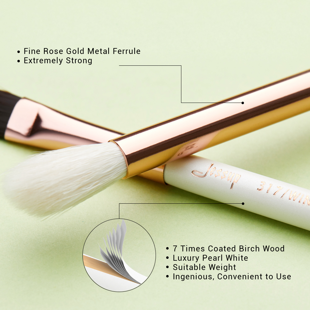 Image 3 - Jessup Pearl White/Rose Gold Professional Makeup Brushes Set Make up Brush Tools kit Eye Liner Shader natural synthetic hair-in Eye Shadow Applicator from Beauty & Health