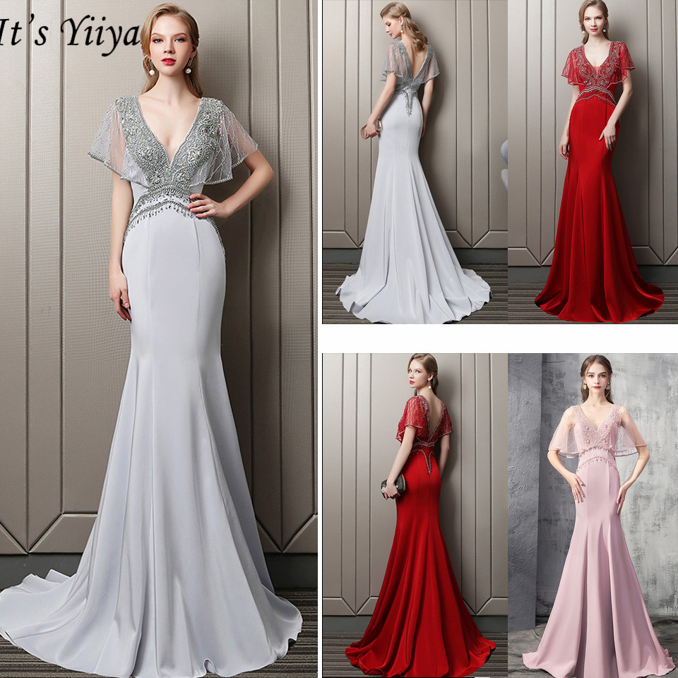 It's Yiiya Evening Dress 2019 Sexy V-Neck Short Sleeve Women Party Dresses Ruffles Mermaid Backless Robe De Soiree V067