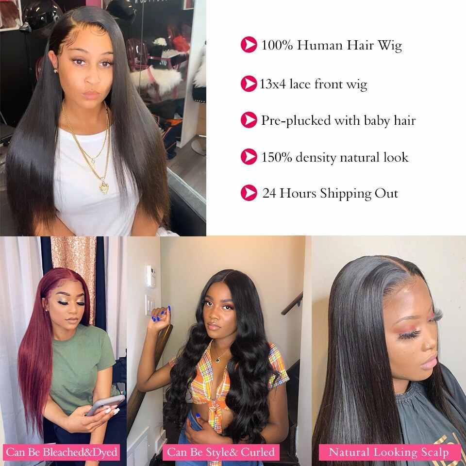 Pelucas de cabello humano frontal de encaje 13x4 con perlas negras de 8 a 30 pulgadas, pelucas frontales de encaje recto brasileño prearrancadas para mujeres negras