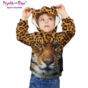 Jesienne zimowe bluzy dziecięce Leopard 3D Print bluzy dziecięce Junior odzież dziecięca swetry 5-12y chłopięce i dziewczęce swetry z kapturem tanie i dobre opinie Myth-box Pasuje prawda na wymiar weź swój normalny rozmiar Szybkie suche Wokół szyi TWQA Pełna Dzianiny Poliester