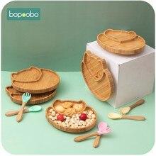 1set alimentación bebé de la placa de la cena ovejas de dibujos animados de Niños de alimentación vajilla con silicona taza de succión tenedor de madera Spoo