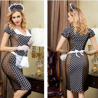 Hot Sexy Maid Costumes Translucent Lace Temptation Sets Waitress Uniform Cosplay Nightwear Apron Outfit Role playing Lingerie