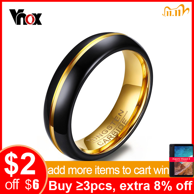 Vnox Men s Thin Ring 6MM Black Tungsten Carbide Rings for Men Wedding Party Jewelry