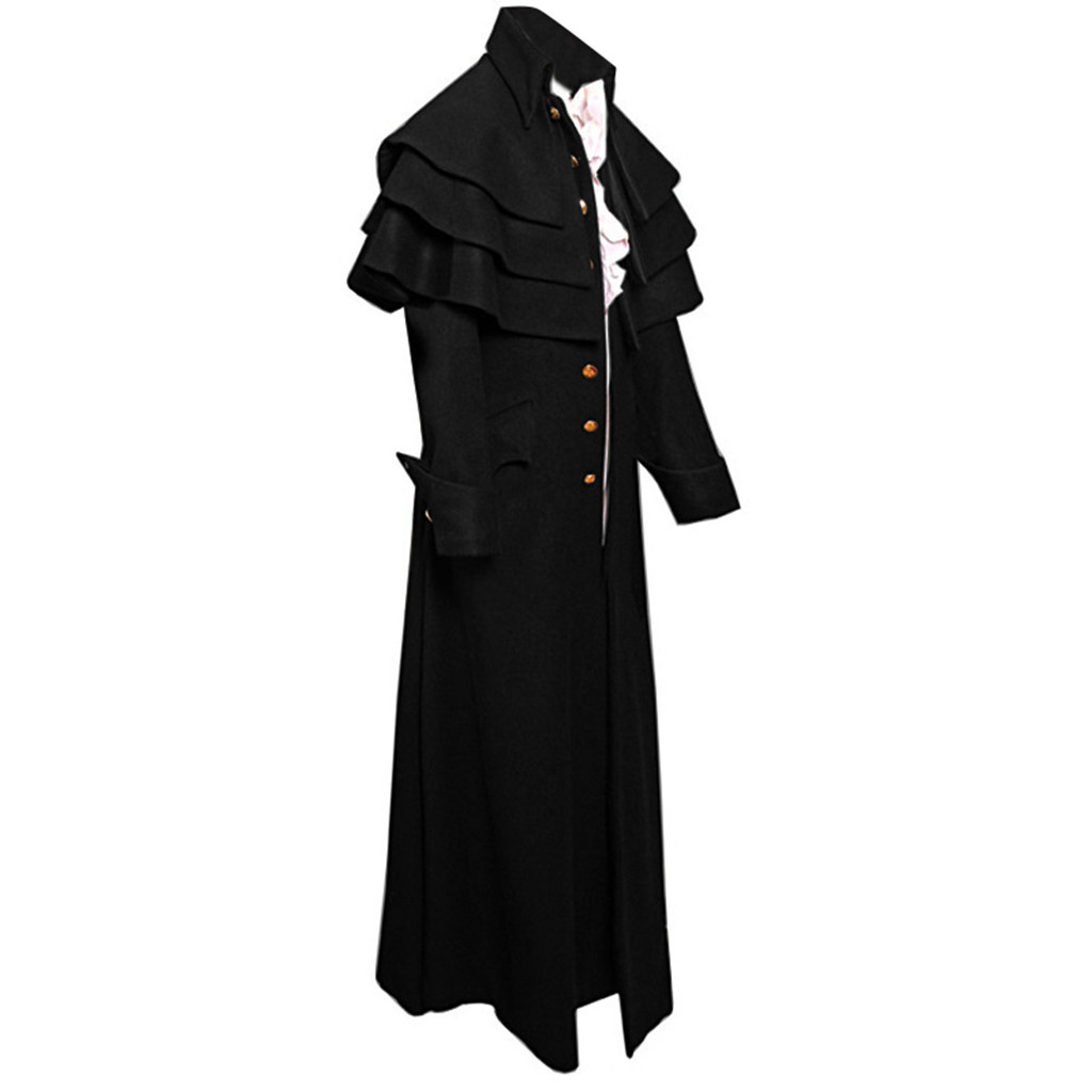 Coat Men Uniform Tailcoat-Jacket Buttons Steampunk Frock Trench Vintage Gothic Fashion title=