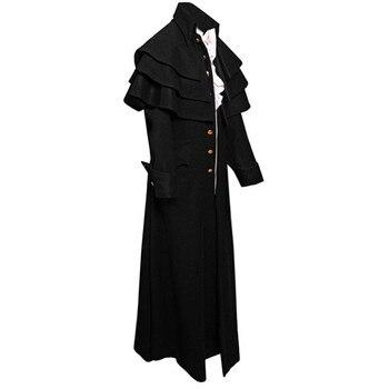 Feitong 빈티지 고딕 frock 유니폼 코트 남자 패션 버튼 steampunk tailcoat 자켓 프릴 트렌치 롱 코트 hombre