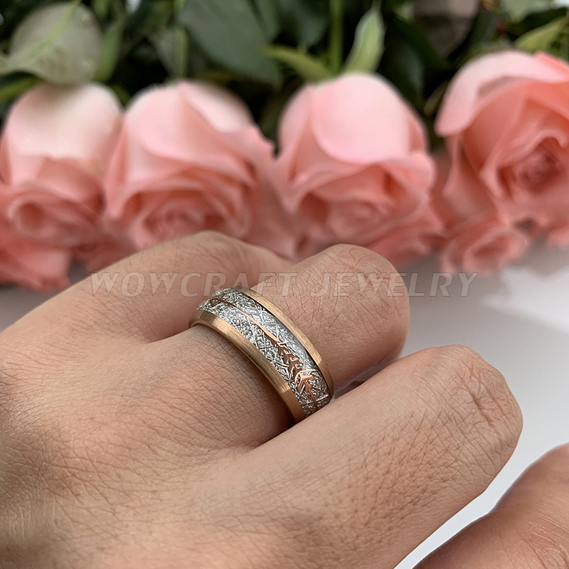 Image 5 - 8mm Rose Gold Wedding Bands Tungsten Carbide Rings for Men Women Brushed Finish Domed Meteorite Arrow Inlay Comfort FitRings   -