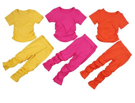 Kids Set Open Back Hooded Puff Sleeve Tops Stacked Slit Pants Suit Active Wear Tracksuit Two Piece Set Fitness Outfit girls 2