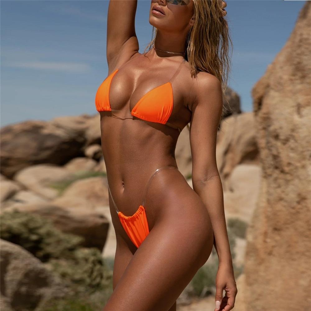 HOT Sexy Micro Bikini Frauen Bademode Tanga Bikini Transparent Strapes Frauen Bade Bademode Anzug Damen Schwimmen Biquini 8 Farben