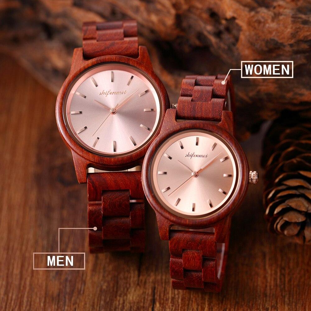 quartzo relógio de madeira pulseira aço inoxidável masculino feminino