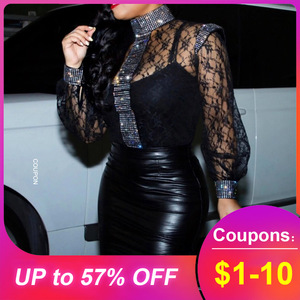 Blouse Shirts Women Slim Black Sexy Hollow Lace Tops Summer African 2020 Party Club Stand Collar Lantern Sleeve Female Blouse(China)