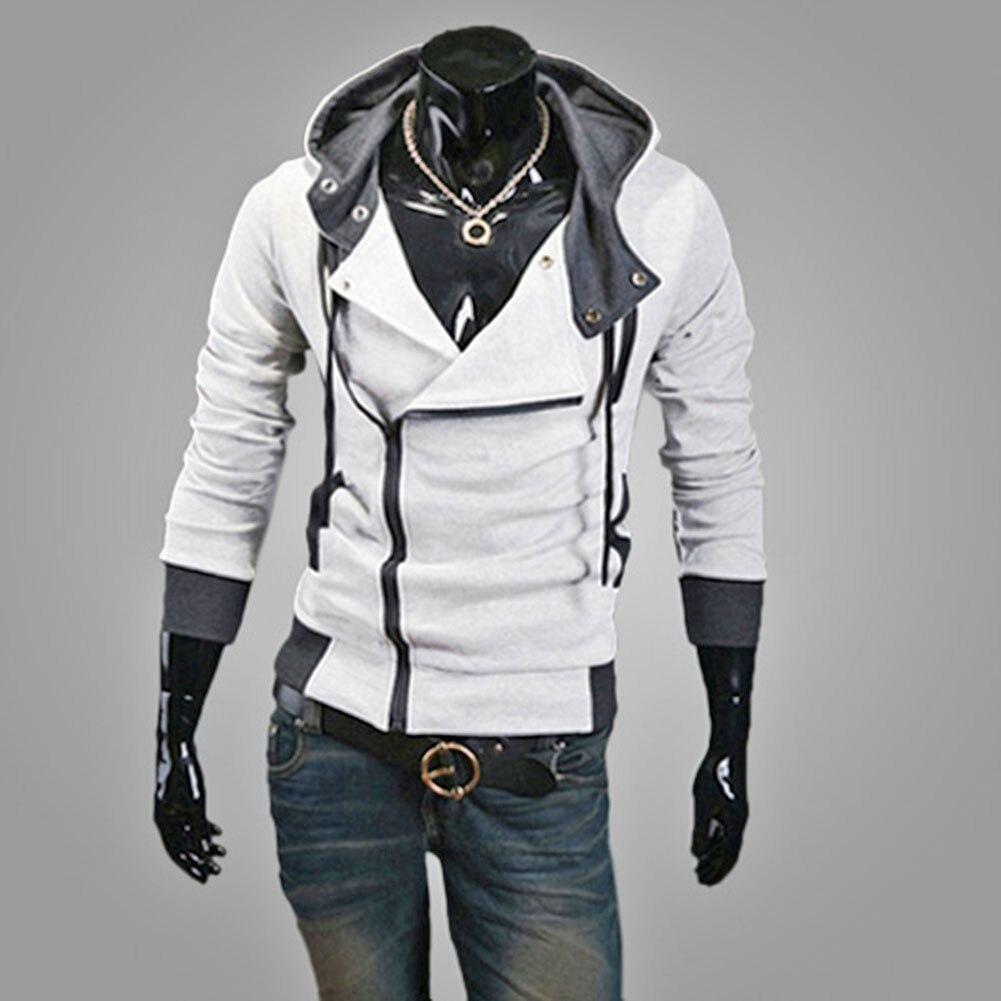 Mode hommes polaire sweat à capuche couleur Patchwork côté veste à glissière décontracté hommes à manches longues noir gris bleu à capuche manteau - 4