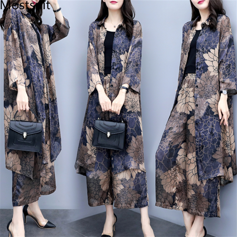Autumn Printed Two Piece Sets Outfits Women Plus Size Long Cardigan Tops And Wide Leg Pants Suits Vintage Elegant Office Sets