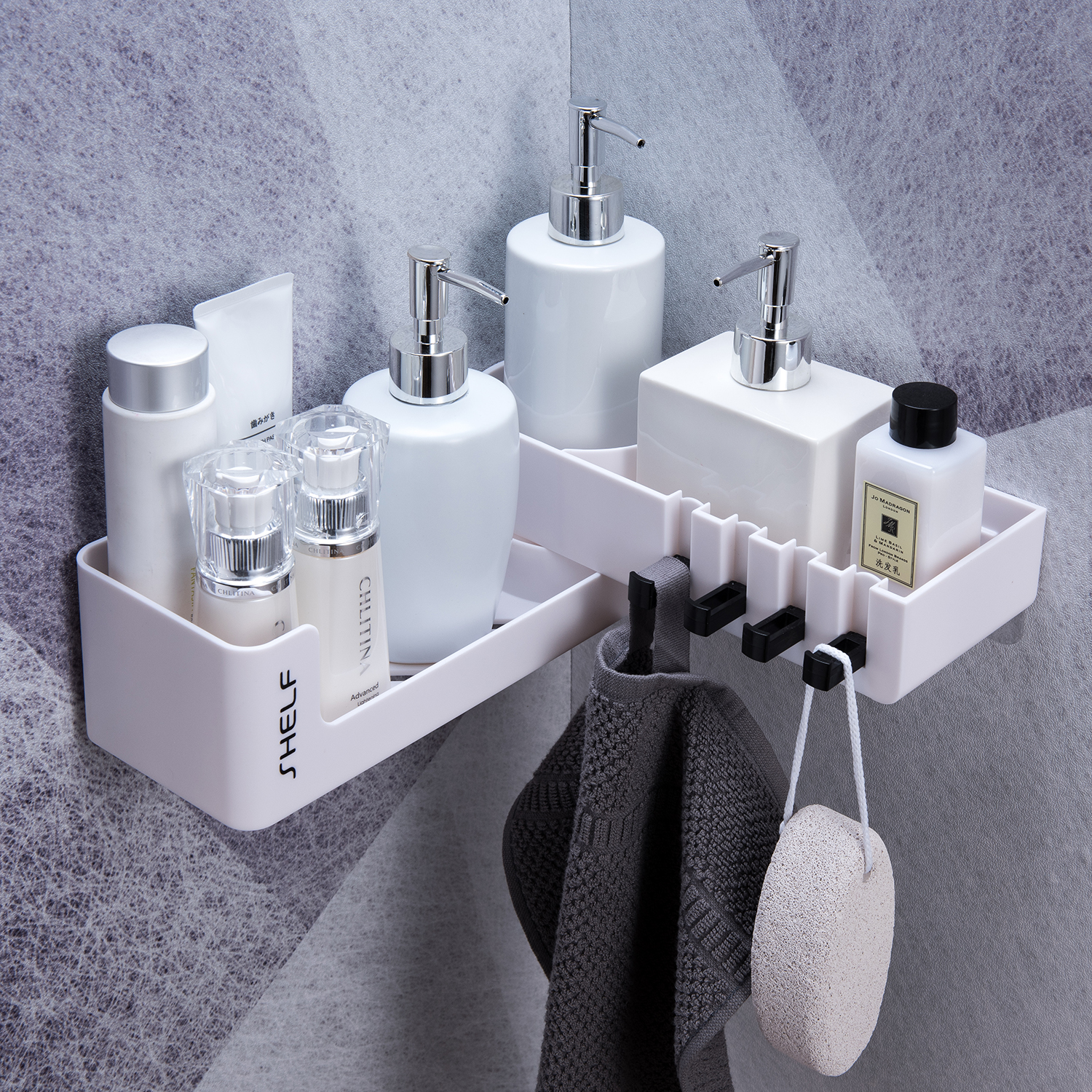 Rotatable Wall Mounted Bathroom Organizer With 4 Hook For Storage Shower Gel And Shampoo